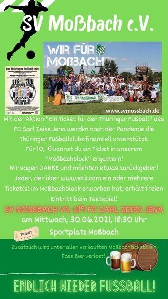 Virtuelle Tickets für das Thüringer Pokalfinale mit Moßbacher Mehrwert!